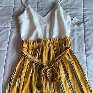 White and yellow stripped romper